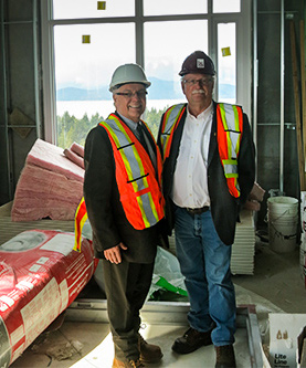Dean Blye Frank with Mr. Manley McLachlan, President of the BC Construction Association tour the Ponderosa Commons Phase 2 site
