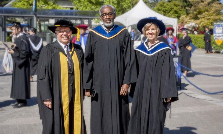 Dean Blye Frank with EDST Head Ali Abdi, and Associate Dean Teacher Education Wendy Carr.