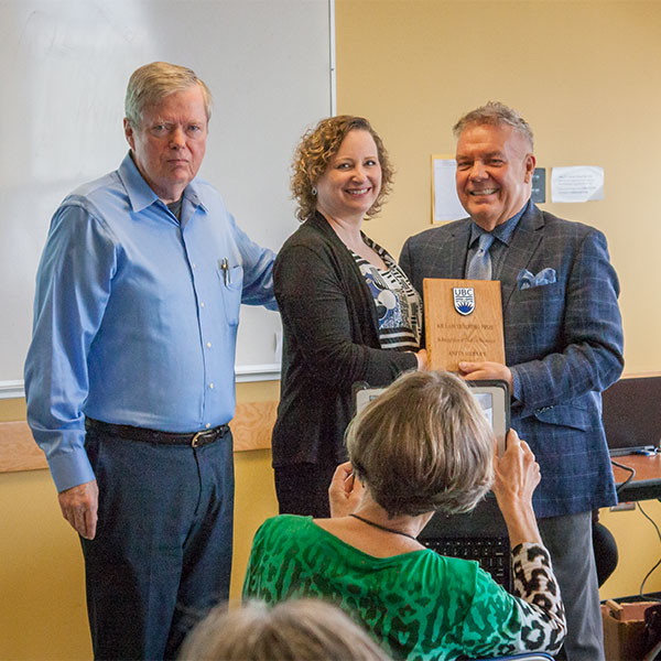 L-R: Head pro tem Lee Gunderson, ECPS, Professor Anita Hubley, ECPS, recipient of Killam Faculty Teaching Prize, Dean Blye Frank.